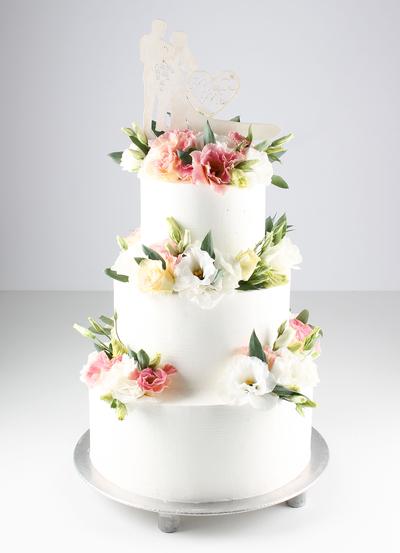 Tort de nunta cu flori vii
